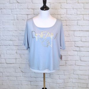 Lucy 'DREAM ON' cropped length gray tee